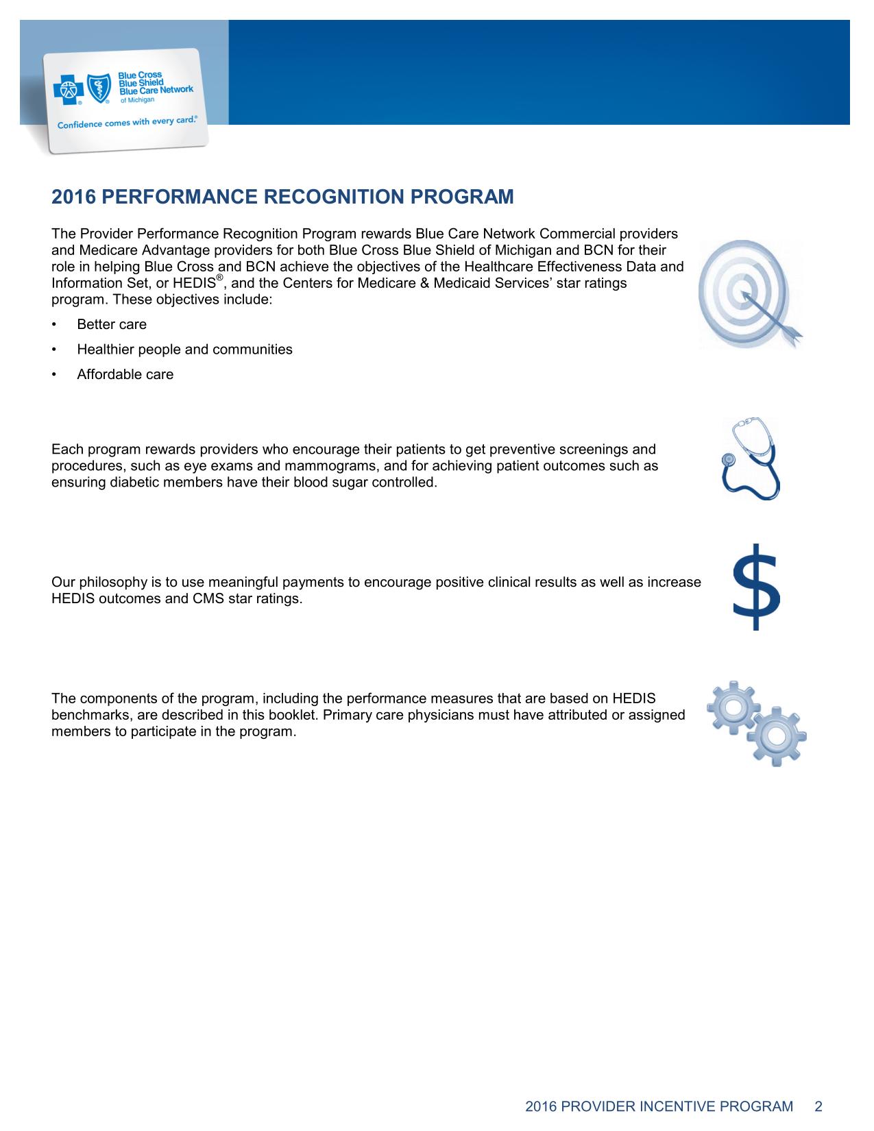 Vaccine Guide - 2016 BCBS Michigan provider incentive program